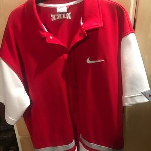 Nike Mens Short Sleeve Shirt Red White Snap Front